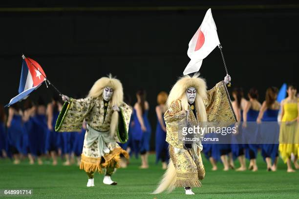 Kabuki actors perform during the opening ceremony for the World Baseball Classic Pool B Game One between Cuba and Japan at Tokyo Dome on March 7 2017...