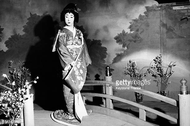 Kabuki star Tokicho Nakamura transformed into a high class courtesan on stage circa 1960 in Japan