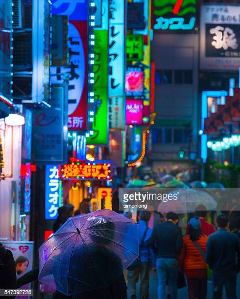 kabukicho red-light district in shinjuku, tokyo, japan. - red light district stock pictures, royalty-free photos & images