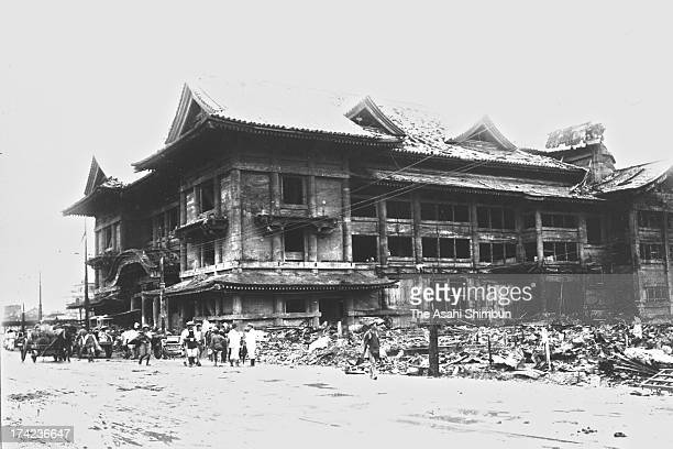 Kabukiza Theatre managed to avoid the fire stands after the Great Kanto Earthquake in September 1923 in Tokyo Japan The estimated Magnitude 79 strong...