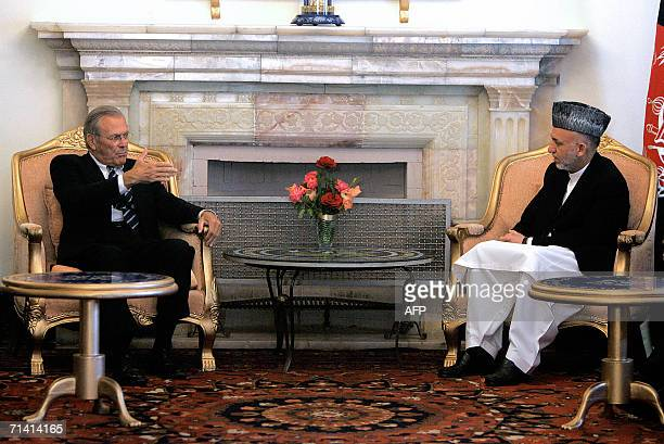 Secretary of Defense, Donald Rumsfeld meets with the Afghan President Hamid Karzai in Kabul, 11 July 2006. US Defense Secretary Donald Rumsfeld...