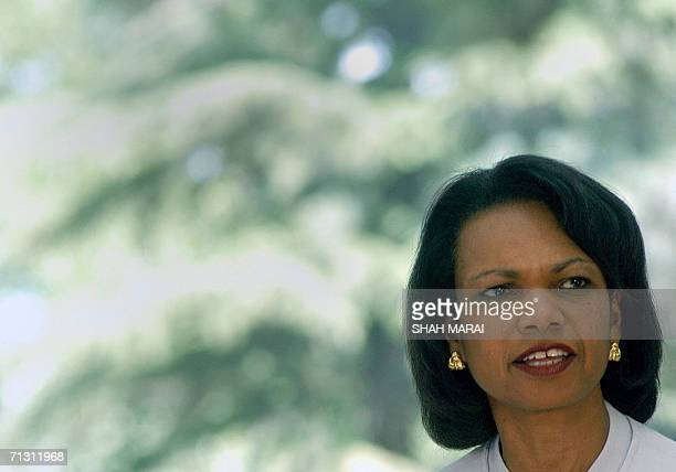 Visiting US Secretary of State Condoleezza Rice speaks during a joint press conference held along with unseen Afghan President Hamid Karzai at the...