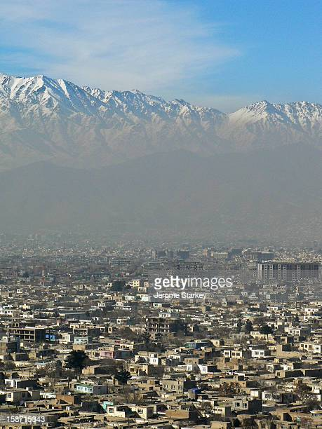 Kabul as seen from Swimming Pool Hill, in Wazir Akbar Khan, the diplomatic quarter. Smog from the city's stoves, generators and cars obscures the...