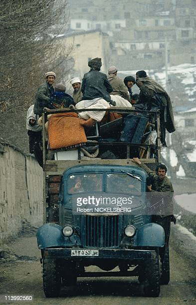 Kabul during peace negotiations In Kabul, Afghanistan In March, 1993-Civilians fleeing front line.