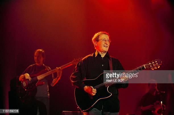 Kabyle singer Idir performs live in Nantes, France on April 08, 2000.