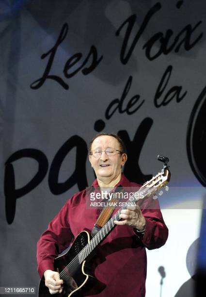Kabyle, singer of Algeria Idir, during the continuation of the 10th mawazine music festival in tribute to the victims of the attack of Marrakech in...