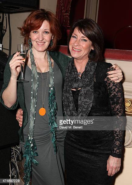 Kacey Ainsworth and Deena Payne attend an after party inside the Noel Coward Theatre following the press night performance of The Full Monty on...