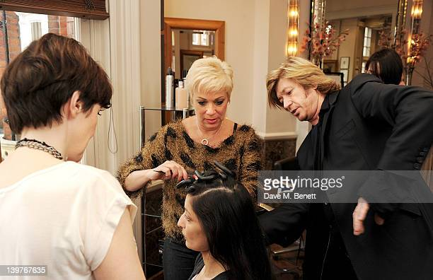 Kacey Ainsworth and Denise Welch get expert tuition from celebrity hairdresser Nicky Clarke in preparation for the upcoming national tour of Steel...