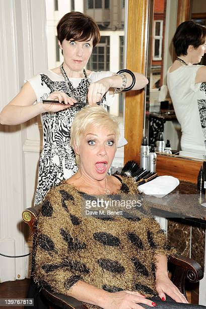 Kacey Ainsworth and Denise Welch prepare for the upcoming national tour of Steel Magnolias at Nicky Clarke's Mayfair Salon on February 24 2012 in...