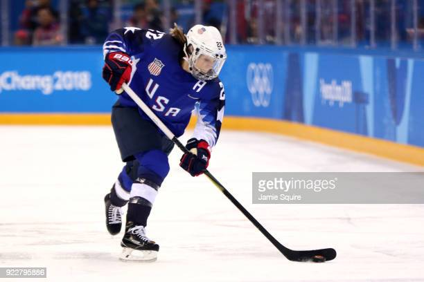 Kacey Bellamy of the United States controls the puck against Canada in overtime during the Women's Gold Medal Game on day thirteen of the PyeongChang...