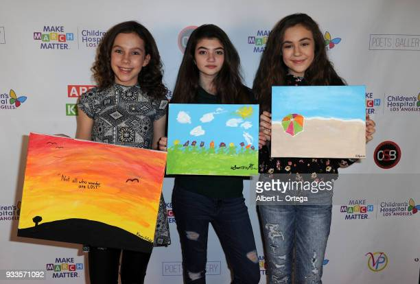 Kacey Fifield Samantha Gangal and Alyssa de Boisblanc attend Art For Kids And The Cast Of USA Networks' 'The Secret Lives Of Kids' Create Art To...