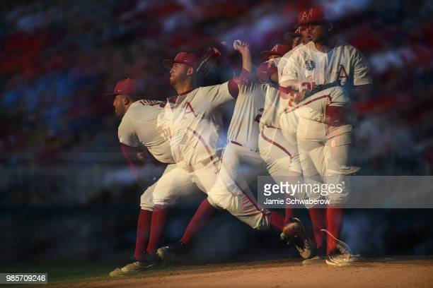 Kacey Murphy of Arkansas pitches against Oregon State during the Division I Men's Baseball Championship held at TD Ameritrade Park on June 26 2018 in...