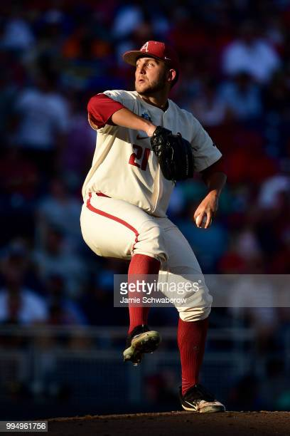 Kacey Murphy of the Arkansas Razorbacks pitches against the Oregon State Beavers during the Division I Men's Baseball Championship held at TD...