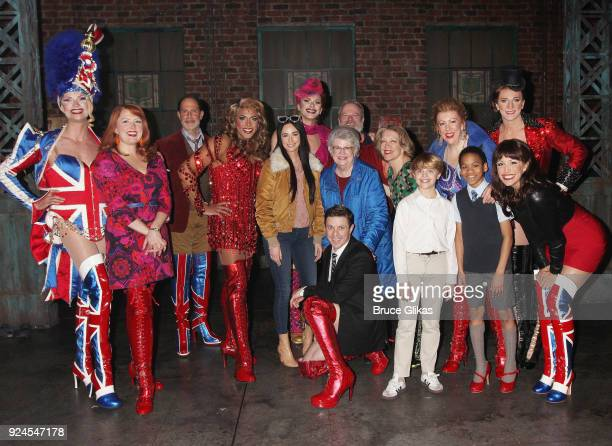 Kacey Musgraves and her Nana pose with Jake Shears an the cast backstage at the hit musical 'Kinky Boots' on Broadway at The Al Hirshfeld Theater on...