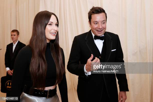 Kacey Musgraves and Jimmy Fallon attend The 2021 Met Gala Celebrating In America: A Lexicon Of Fashion at Metropolitan Museum of Art on September 13,...