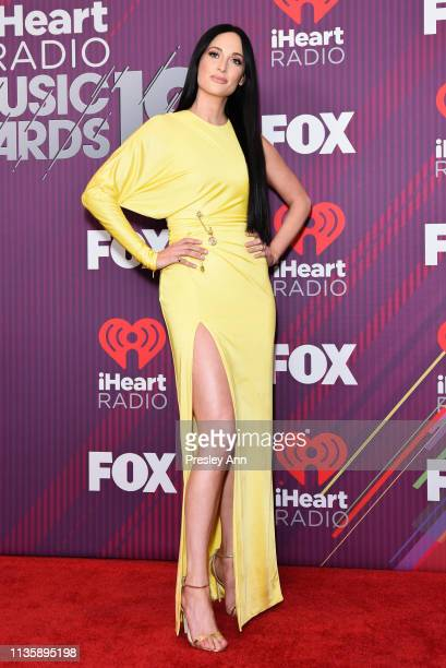 Kacey Musgraves attends 2019 iHeartRadio Music Awards press room during the 2019 iHeartRadio Music Awards which broadcasted live on FOX at Microsoft...
