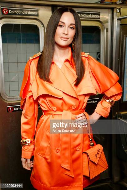 Kacey Musgraves attends the Moschino Prefall 2020 Runway Show front row at New York Transit Museum on December 09 2019 in Brooklyn City
