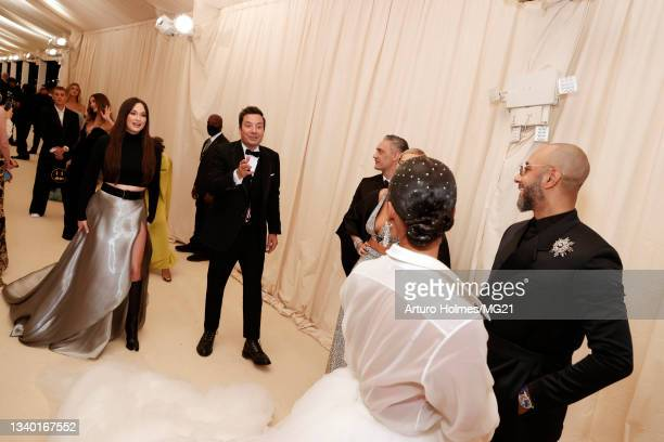 Kacey Musgraves, Jimmy Fallon, Alicia Keys and Swizz Beatz attend The 2021 Met Gala Celebrating In America: A Lexicon Of Fashion at Metropolitan...