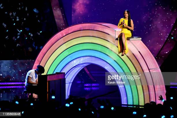Kacey Musgraves performs on stage at the 2019 iHeartRadio Music Awards which broadcasted live on FOX at the Microsoft Theater on March 14 2019 in Los...