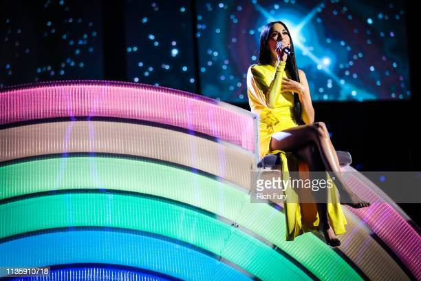 Kacey Musgraves performs on stage at the 2019 iHeartRadio Music Awards which broadcasted live on FOX at Microsoft Theater on March 14 2019 in Los...