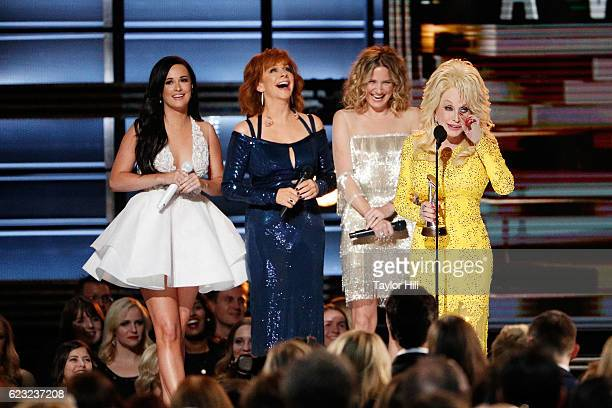 Kacey Musgraves Reba McEntire Jennifer Nettles and Dolly Parton appear onstage during the 50th annual CMA Awards at the Bridgestone Arena on November...
