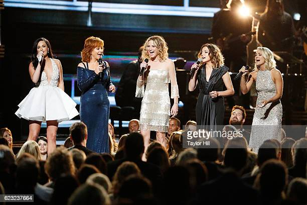 Kacey Musgraves Reba McEntire Jennifer Nettles Karen Fairchild and Carrie Underwood perform onstage during the 50th annual CMA Awards at the...