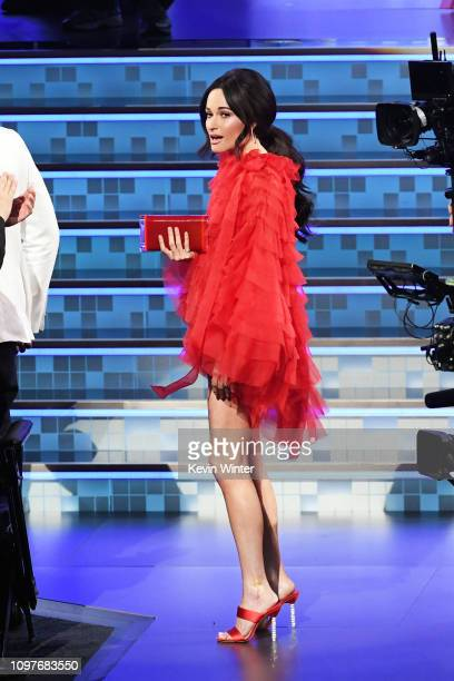 Kacey Musgraves walks to the stage to accept the Album Of The Year award for 'Golden Hour' during the 61st Annual GRAMMY Awards at Staples Center on...