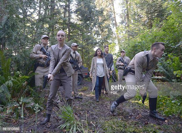 Kacey Rohl Nimrat Kaur Josh Helman and Tom Stevens in the Pass Judgment episode of WAYWARD PINES airing Wednesday July 13 on FOX