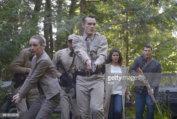 Kacey Rohl Tom Stevens Nimrat Kaur and Josh Helman in the Pass Judgment episode of WAYWARD PINES airing Wednesday July 13 on FOX