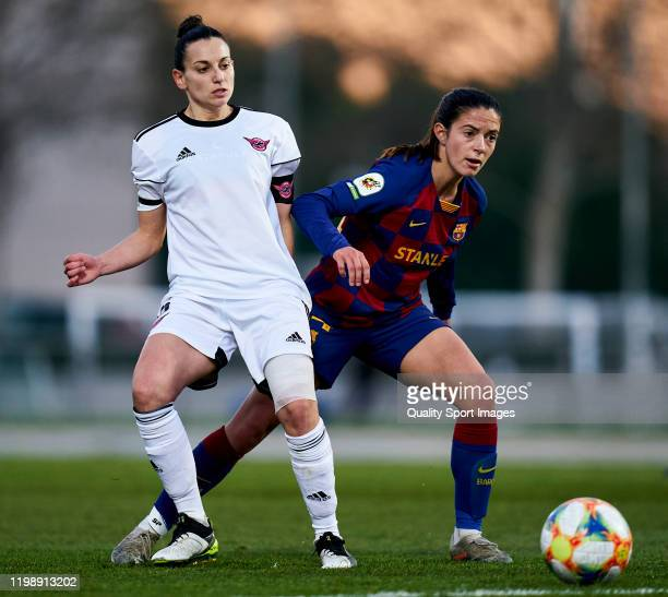 Kaci of CD Tacon battle for the ball with Aitana Bonmatí of FC Barcelona during the Spanish women's league Liga Iberdrola between CD Tacon v FC...