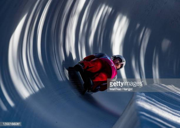 Kacper Imiolek and Lukasz Mackale of Poland compete in the Men's Doubles Competition in luge during day 8 of the Lausanne 2020 Winter Youth Olympics...