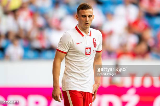 Kacper Kozlowski of Poland looks on during the international friendly match between Poland and Iceland at Stadion Miejski on June 8, 2021 in Poznan,...