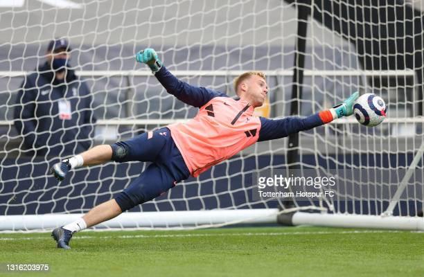 Kacper Kurylowicz of Tottenham Hotspur warms up during the Premier League match between Tottenham Hotspur and Sheffield United at Tottenham Hotspur...