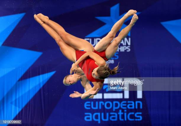 Kacper Lesiak and Kaja Skrzek of Poland compete in the Mixed Synchronised 3m Springboard final during the diving on Day seven of the European...