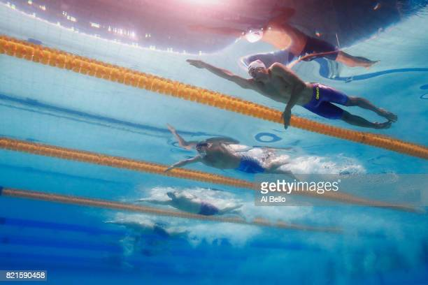 Kacper Majchrzak of Poland, James Guy of Great Britain and Townley Haas of the United States competes during the Men's 200m Freestyle Semi-finals on...