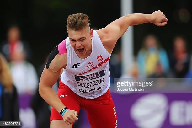 Kacper Oleszczuk of Poland competes in the Men's Javelin Throw on day four of the European Athletics U23 Championships at Kadriorg Stadium on July 9,...