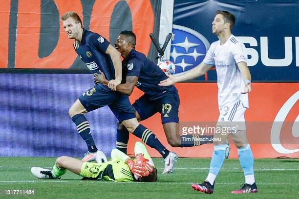 Kacper Przybylko and Cory Burke of the Philadelphia Union celebrate a goal by Przybylko during the second half against the the New England Revolution...