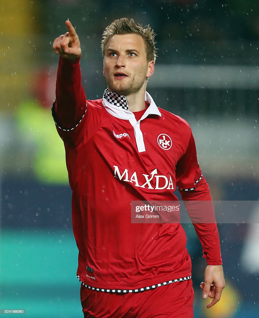 Kacper Przybylko of Kaiserslautern celebrates his team's first goal during the Second Bundesliga match between 1. FC Kaiserslautern and RB Leipzig at Fritz-Walter-Stadion on April 25, 2016 in Kaiserslautern, Germany.
