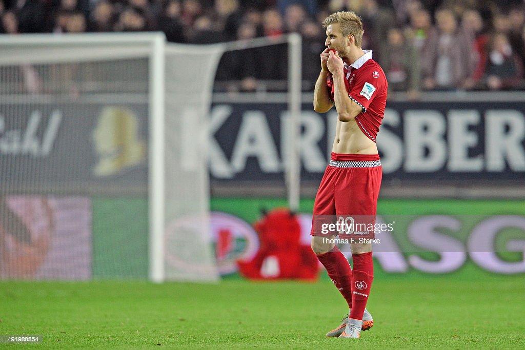 Kacper Przybylko of Kaiserslautern looks dejected after losing the Second Bundesliga match between 1. FC Kaiserslautern and Arminia Bielefeld at Fritz-Walter-Stadion on October 30, 2015 in Kaiserslautern, Germany.