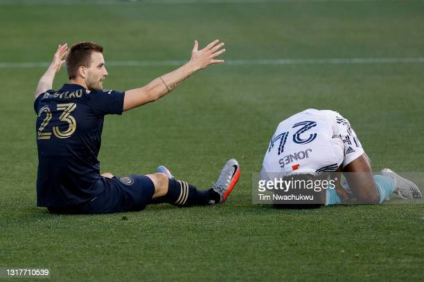 Kacper Przybylko of the Philadelphia Union reacts after fouling DeJuan Jones of the New England Revolution during the first half at Subaru Park on...