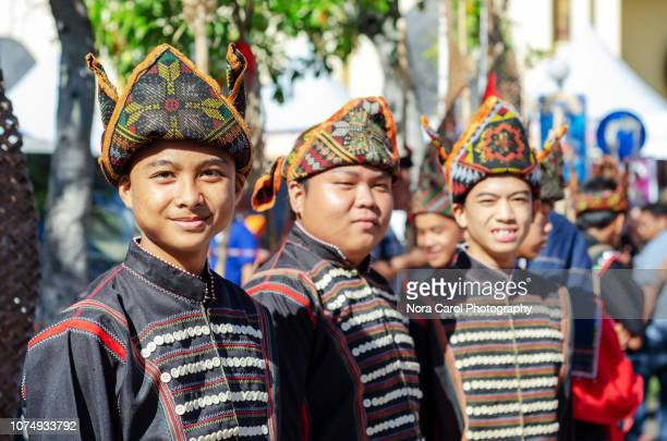kadazan dusun indigenous in traditional costume - harvest festival stock pictures, royalty-free photos & images