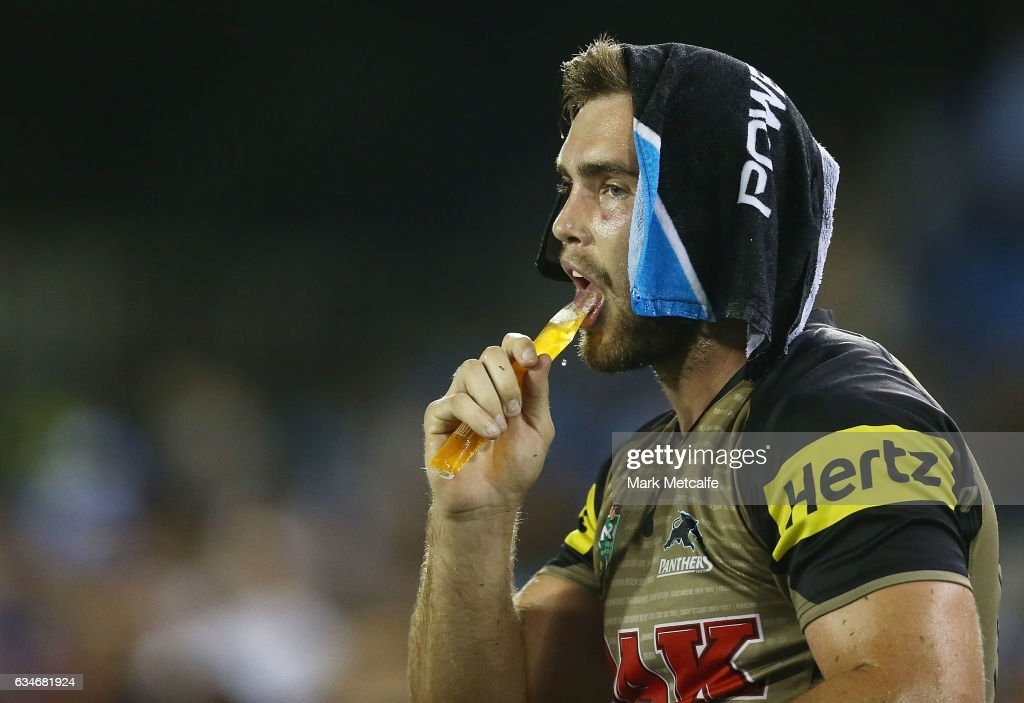 Kade Ellis of the Panthers cools down with a wet towel and an ice pole during the NRL Trial match between the Canterbury Bulldogs and the Penrith Panthers at Belmore Sports Ground on February 11, 2017 in Sydney, Australia.