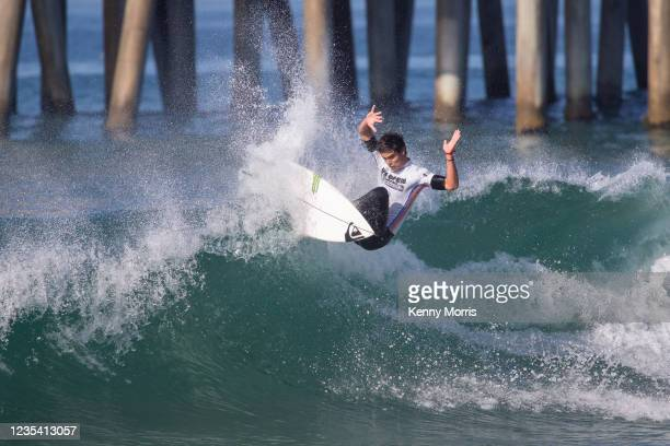 Kade Matson of the USA surfs in Heat 1 of the Round of 96 at the US Open of Surfing Huntington Beach presented by Shiseido on September 21, 2021 at...