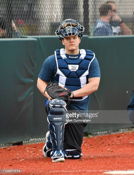 Kade Scivicque of the Detroit Tigers looks on during Spring Training workouts at the TigerTown Complex on February 12 2019 in Lakeland Florida