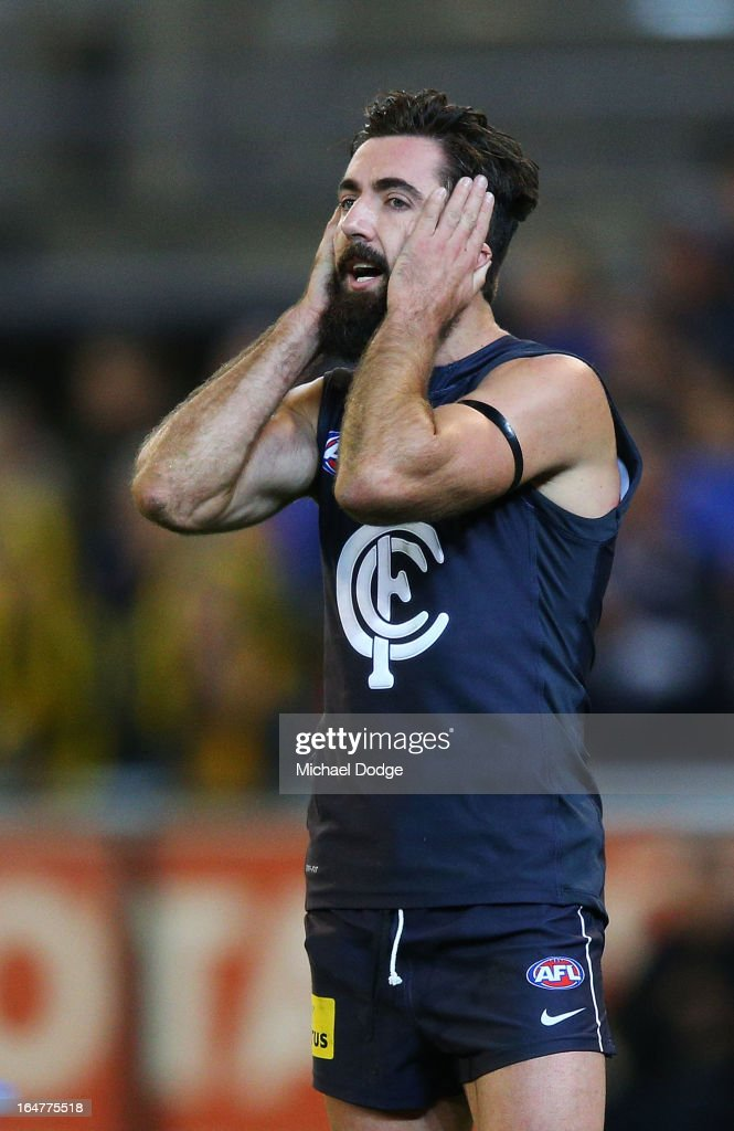 A Kade Simpson of the Blues after losing during the round one AFL match between the Carlton Blues and the Richmond Tigers at Melbourne Cricket Ground on March 28, 2013 in Melbourne, Australia.