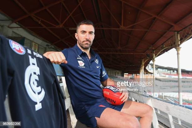 Kade Simpson of the Blues poses during a Carlton Blues AFL media opportunity at Ikon Park on June 26 2018 in Melbourne Australia