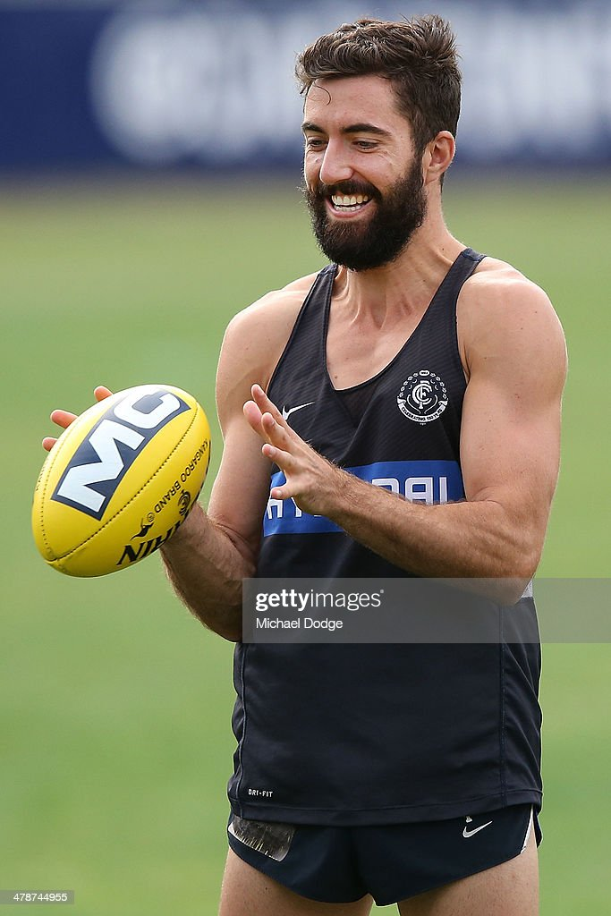 Kade Simpson reacts during a Carlton Blues AFL training session at Visy Park on March 15, 2014 in Melbourne, Australia.