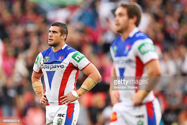 Kade Snowden of the Knights shows signs of dejection after the Panthers score a try during the round 26 NRL match between the Penrith Panthers and...