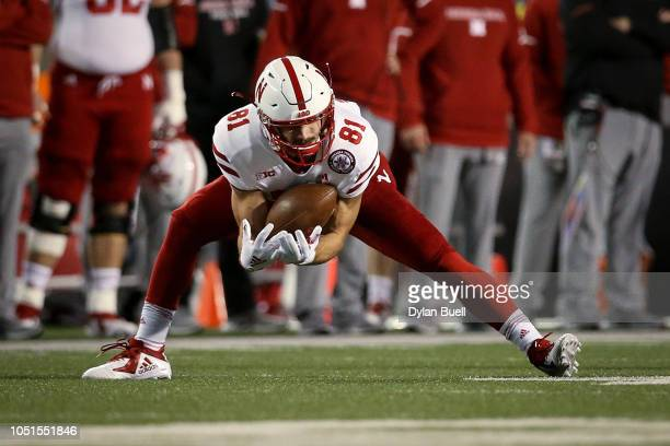 Kade Warner of the Nebraska Cornhuskers catches a pass in the first quarter against the Wisconsin Badgers at Camp Randall Stadium on October 6 2018...