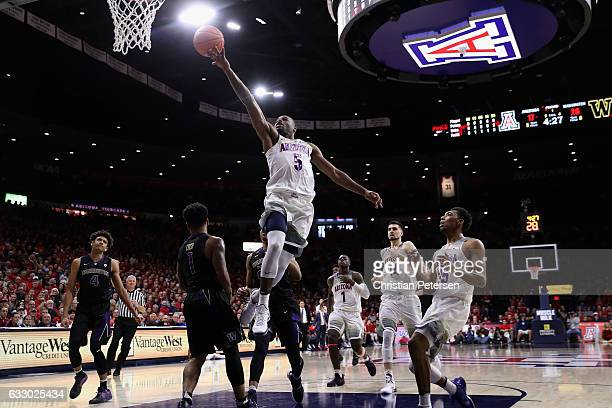 Kadeem Allen of the Arizona Wildcats attempts a lay up against the Washington Huskies during the first half of the college basketball game at McKale...